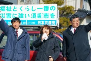 2月2日 須坂市議選で2人全員当選