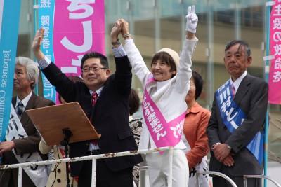 県政を県民の手に戻そう 埼玉4カ所 小池副委員長が演説