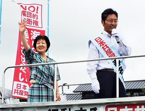 戦争法案廃案へ力合わせよう/日本共産党 春名なおあき元衆院銀(参院比例予定候補)と梅木市議が訴え