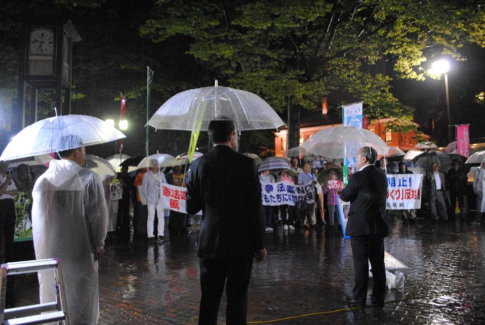 参院特別委員会採決強行に、ピーステントで抗議行動