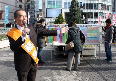 戦争法廃止へ参院候補訴え/埼玉 伊藤氏が街頭宣伝